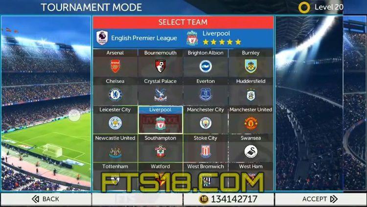 FTS 18 APK Football Clubs